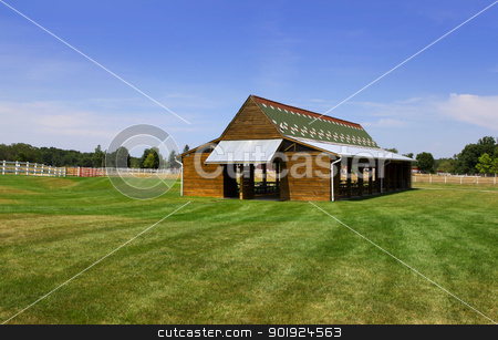 Picnic shelter stock photo, Picnic shelter in the middle of a meadow by Sreedhar Yedlapati
