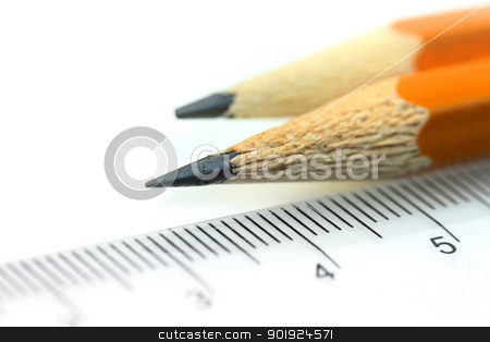 Pencils and scale stock photo, Close up shot of two sharpened pencil and scale by Sreedhar Yedlapati