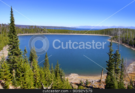 Lake Yellowstone stock photo, Lake Yellowstone in scenic Yellowstone national park by Sreedhar Yedlapati