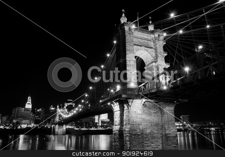 Roebling Bridge at Night stock photo, The Roebling bridge connects Cincinnati, Ohio and Covington, Kentucky. by Joe Tabb