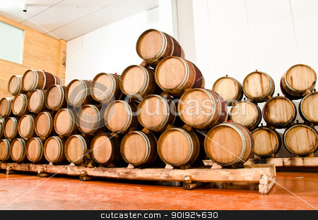 Wine keg barrels  stock photo, Wine keg barrels stacked keep cool. by chatchai