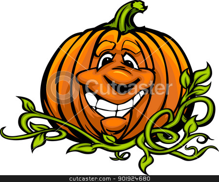 Happy Halloween Jack-O-Lantern Pumpkin Head Cartoon Vector Illus stock vector clipart, Cartoon Vector Image of a Happy Halloween Pumkin Jack O Lantern Head and Vines with Smiling Expression by chromaco
