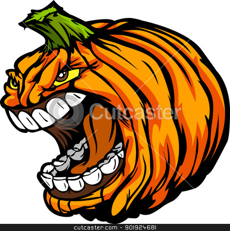 Screaming Halloween Jack-O-Lantern Pumpkin Head Cartoon Vector I stock vector clipart, Cartoon Vector Image of a Scary Screaming Halloween Pumkin Jack O Lantern Head by chromaco
