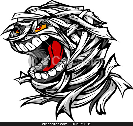 Screaming Scary Mummy Halloween Monster Head Cartoon Vector Illu stock vector clipart, Cartoon Vector Image of a Scary Screaming Halloween Monster Mummy Head by chromaco