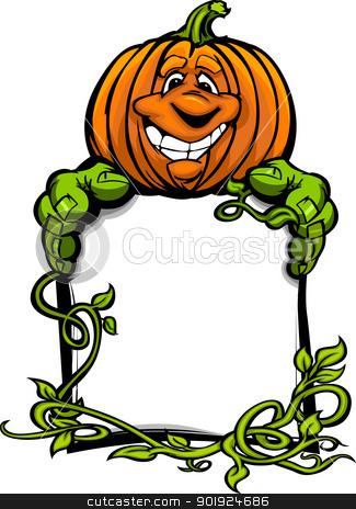 Happy Halloween Jack-O-Lantern Pumpkin Holding Sign Cartoon Vect stock vector clipart, Cartoon Vector Image of a Happy Halloween Pumkin Jack O Lantern Holding a Sign with Vines by chromaco
