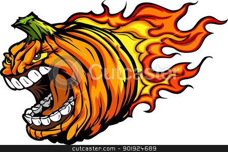 Screaming Halloween Jack-O-Lantern Pumpkin Head with Flames Cart stock vector clipart, Cartoon Vector Image of a Scary Flaming Halloween Pumkin Jack O Lantern Head with Screaming Expression by chromaco