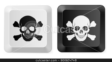 Skull key stock photo, Black and White Skull button. Illustration for design by dvarg