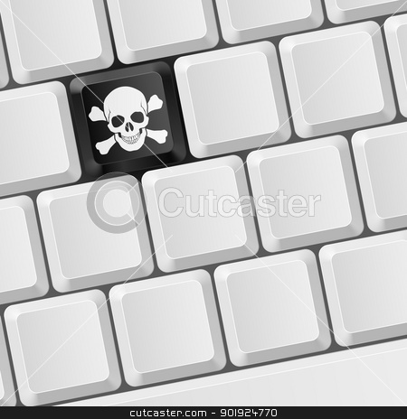 Skull key stock photo, Keyboard with Skull button. Illustration for design by dvarg