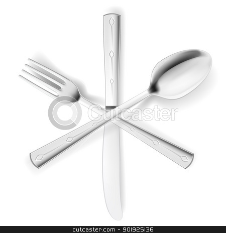 Fork, spoon and knife stock photo, Crossed fork, spoon and knife. Illustration on white by dvarg