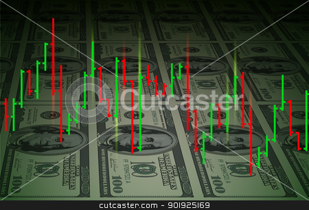 Exchange chart background stock photo, Exchange chart on dollars background. Illustration for design by dvarg