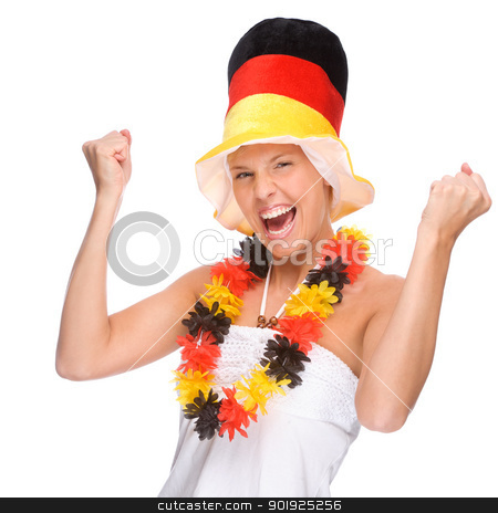German soccer fan stock photo, Full isolated portrait of a beautiful german soccer fan by Picturehunter