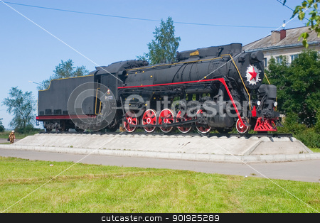 Steam locomotive in Kotlas stock photo, Monument of war railroaders, Kotlas, North Russia, Arkhangelsk area, near the railway station by Viacheslav Belyaev