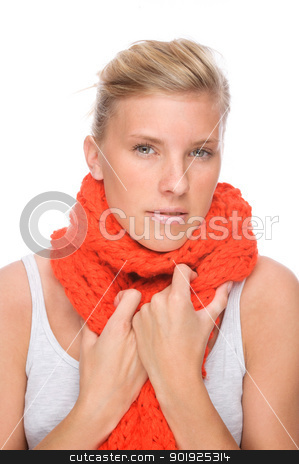 Common cold stock photo, Full isolated portrait of a caucasian woman with chill by Picturehunter