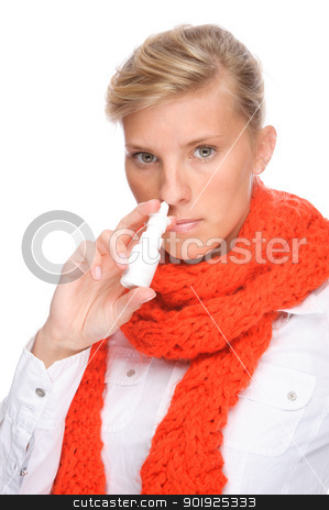 Woman with nasal spray stock photo, Full isolated portrait of a caucasian woman with nasal spray by Picturehunter