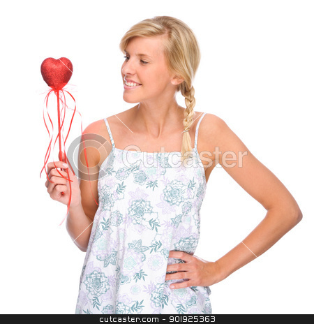 Woman with red heart stock photo, Full isolated portrait of a caucasian woman with red heart by Picturehunter