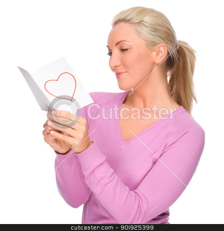 Woman with love letter stock photo, Full isolated portrait of a beautiful woman with love letter by Picturehunter