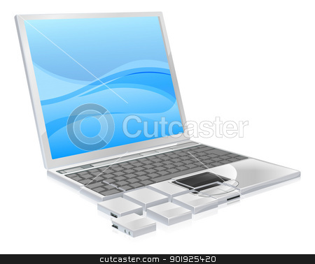 Laptop pieces concept stock vector clipart, Laptop pieces conceptual illustration. Could be a laptop forming from pieces or fragmenting into them. Concept for de-fragmenting drives, a virus, downloading pieces of files, backing up or any other number of computer themes. by Christos Georghiou