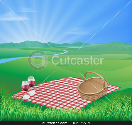Picnic in beautiful rural scene stock vector clipart, Illustration of a picnic in a beautiful rural scene with wine glasses and wicker basket by Christos Georghiou
