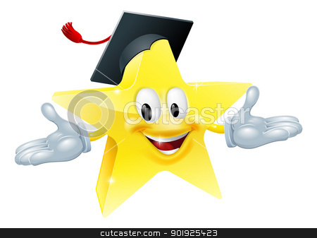 Education star man stock vector clipart, Star man wearing a mortarboard, education concept by Christos Georghiou
