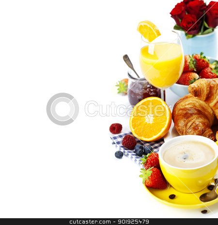 Fresh healthy breakfast stock photo, Breakfast with croissants, coffee and orange juice by klenova