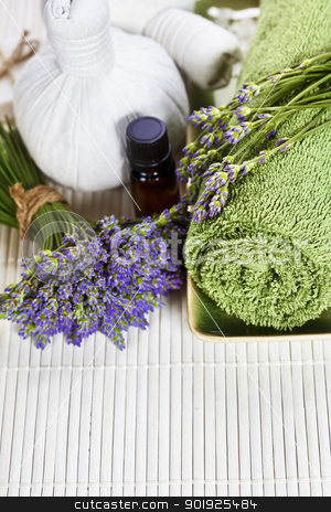 lavender spa stock photo, lavender spa (fresh lavender flowers,  essential oil, towel,  Herbal massage balls)  by klenova
