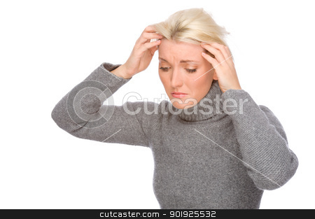Woman with headache stock photo, Full isolated portrait of a caucasian woman with headache by Picturehunter