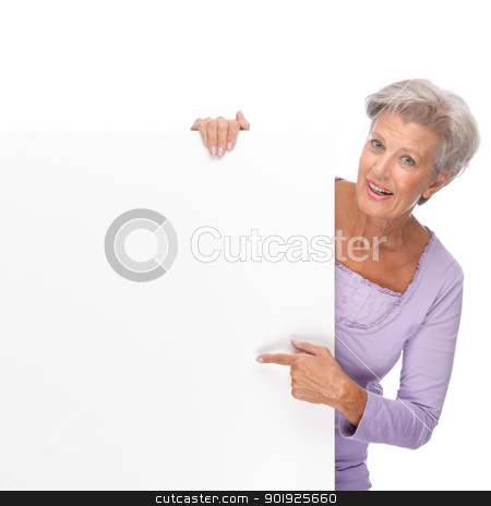 Senior woman stock photo, Full isolated portrait of a beautiful and happy senior woman with blank sign by Picturehunter