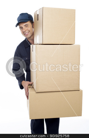 Relocation staff carrying cardboard boxes stock photo, Relocation staff carrying cardboard boxes isolated against white background by Ishay Botbol