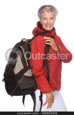 Active senior stock photo, Full isolated portrait of a active senior by Picturehunter