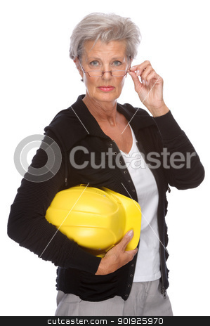 Senior engineer stock photo, Full isolated portrait of a senior engineer by Picturehunter
