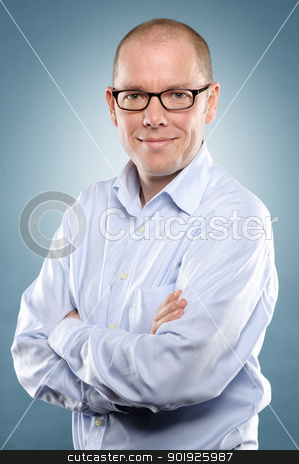 Smiling man stock photo, Studio picture from a young man with special background by Picturehunter