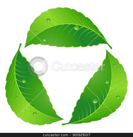 Symbol of recycle stock photo, Symbol of recycle. Leaf concept. Illustration on white by dvarg