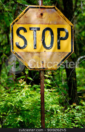 Yellow Stop Sign Up Close-1 stock photo, Yellow Stop Sign Up Close by Liane Harrold