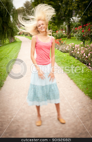 Young and smiling woman stock photo, Happy young woman by Picturehunter