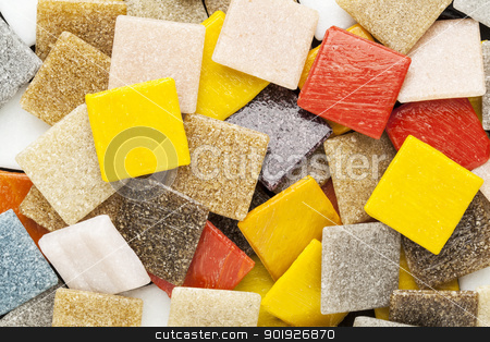 colorful glass mosaic tiles stock photo, random background of colorful square glass mosaic tiles by Marek Uliasz