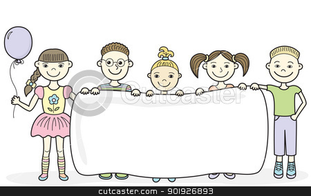 Cartoon children holding empty banner stock vector clipart, Vector illustration of five smiling kids holding an empty banner in their hands by Allaya