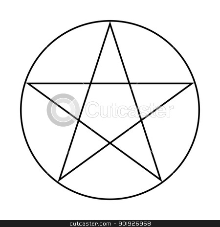 Wicca Pentacle sign stock photo, Wicca Pentacle sign isolated on a white background. by Martin Crowdy