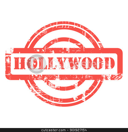 Hollywood grunge stamp stock photo, Hollywood, Los Anglese, California, used red grunge stamp isolated on white background. by Martin Crowdy