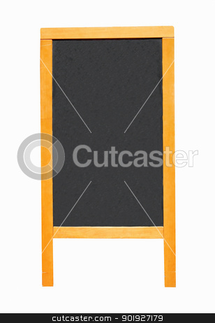 Blank chalk advertising board stock photo, Blank chalk advertising board isolated on white background. by Martin Crowdy
