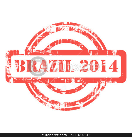 Brazil 2014 stamp stock photo, Brazil 2014 red grunge stamp isolated on white background. by Martin Crowdy