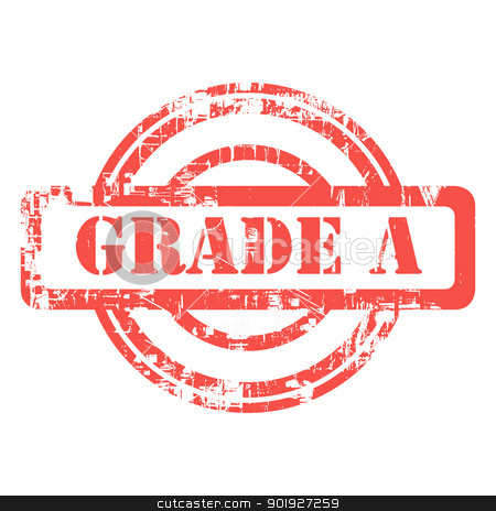 Grade A stamp stock photo, Red grade A grunge stamp isolated on white background. by Martin Crowdy