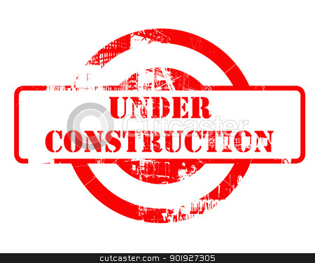 Under construction red stamp stock photo, Under construction red stamp with copy space isolated on white background. by Martin Crowdy