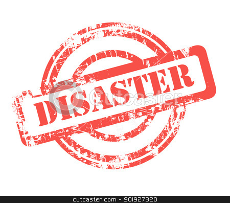 Disaster stamp stock photo, Red disaster stamp isolated on white background. by Martin Crowdy