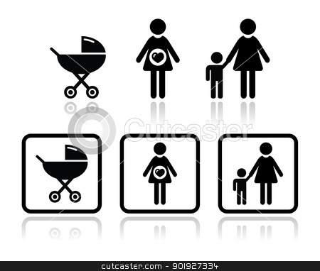 Baby icons set - carriage, pregnant woman, family stock vector clipart, Black icons set - motherhood, pregnancy by Agnieszka Bernacka
