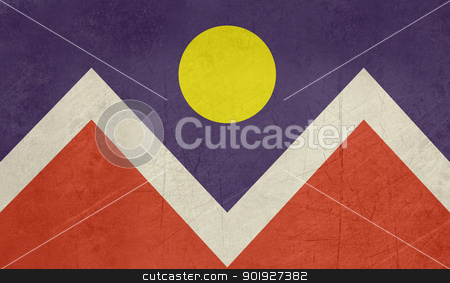 Grunge Denver city flag stock photo, Grunge flag of Denver city, Colorado in the U.S.A  by Martin Crowdy