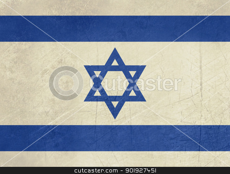 Grunge Israeli flag stock photo, Grunge sovereign state flag of country of Israel in official colors. by Martin Crowdy