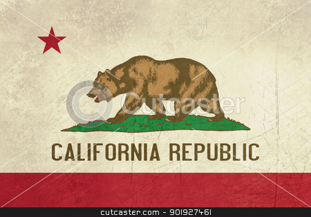 Grunge California State flag stock photo, Grunge California state flag of America, isolated on white background. by Martin Crowdy