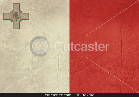 Grunge Malta Flag stock photo, Grunge sovereign state flag of country of Malta in official colors. by Martin Crowdy