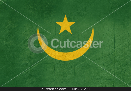 Grunge Mauritania Flag stock photo, Grunge sovereign state flag of country of Mauritania in official colors. by Martin Crowdy