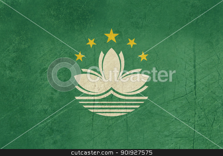 Grunge Macau Flag stock photo, Grunge sovereign state flag of dependent country of Macau in official colors.  by Martin Crowdy